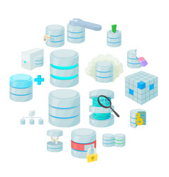 data base icons set vector image