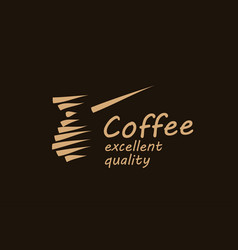 drawn logo for making coffee on a dark vector image