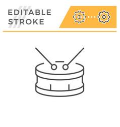 drum editable stroke line icon vector image