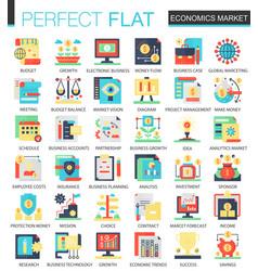 economics market complex flat icon concept vector image