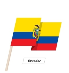 Ecuador ribbon waving flag isolated on white vector