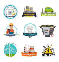 electricity power technology icons vector image