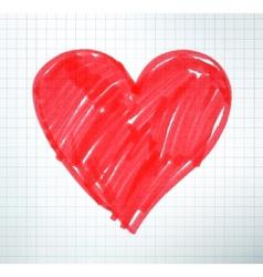 Felt pen drawing of Valentine heart vector image