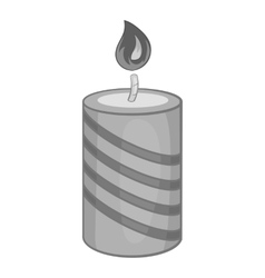 Festive candle icon black monochrome style vector image