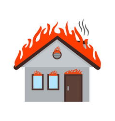 fire consuming house vector image