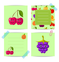 flat cute cherry blackberry fruits with vector image vector image