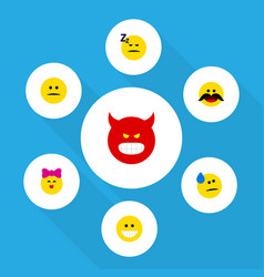 Flat icon face set pouting grin displeased vector