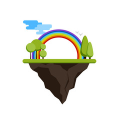 Floating island with a rainbow and trees vector