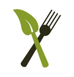fork leave healthy food symbol vector image