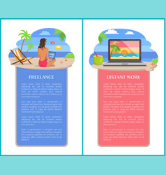 Freelance and distant work vertical banners set vector