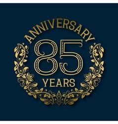 Golden emblem eighty fifth years anniversary vector