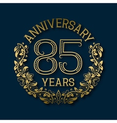 Golden emblem of eighty fifth years anniversary vector image