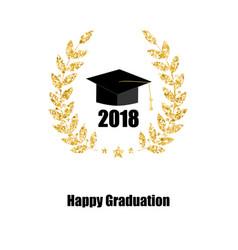 graduate card class of 2018 education symbol vector image