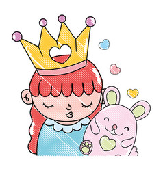 Grated cute girl with crown and nice mouse vector