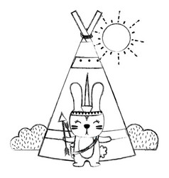 Grunge rabbit animal with arrows and camp design vector