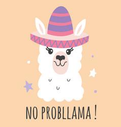 hand drawn cartoon llama poster vector image