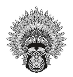 Hand Drawn patterned Monkey in zentangle style vector