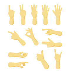 hands gestures human body parts palms fingers vector image