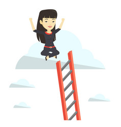 happy business woman sitting on the cloud vector image