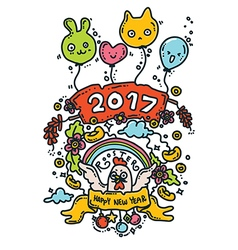 Happy new rooster year 2017 vector