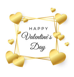 happy valentines day greeting card gold heart vector image