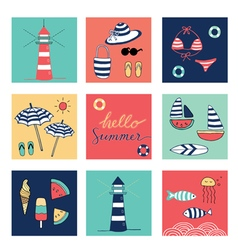 Hello summer icons square colorful vector