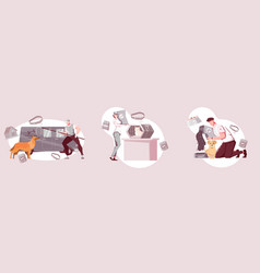 homeless animals compositions set vector image