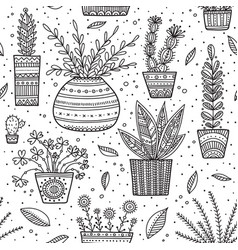House plants seamless pattern vector