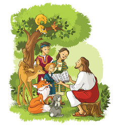 Jesus reading the bible to children and animals vector