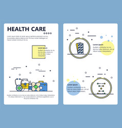 Line art health care poster banner template vector