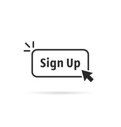 Linear simple black sign up button vector