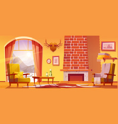 Living room interior chalet house in mountains vector