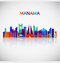 manama skyline silhouette vector image