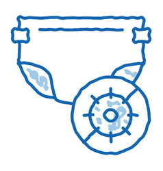 Microbe diaper doodle icon hand drawn vector