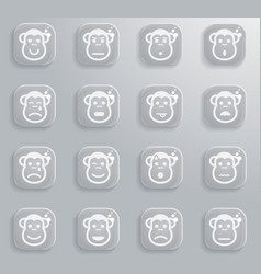 Monkey emotions simply icons vector