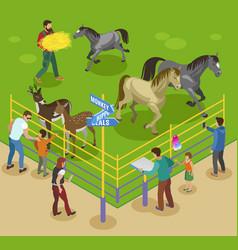 Petting farm zoo composition vector