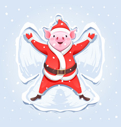Pig santa claus making a snow angel vector