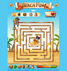 Pirate beach maze puzzle game vector