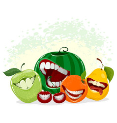 Playful fruits on white vector