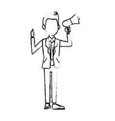Politician man hold megaphone loudspeaker stand vector