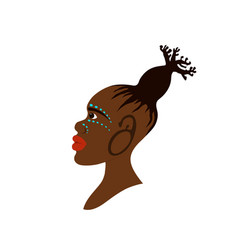 portrait of african woman with hairstyle vector image