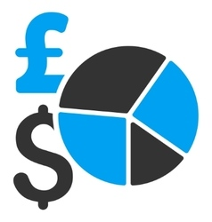 Pound and Dollar Pie Chart Flat Icon Symbol vector image