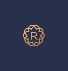 Premium letter r logotype elegant floral vector