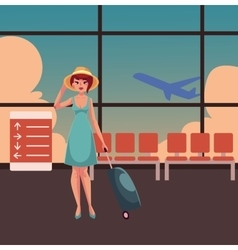 Pretty woman in blue dress with suitcase vector image
