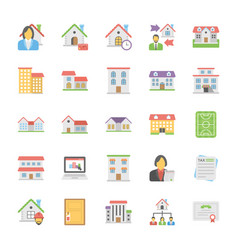 Real estate icons pack in flat design vector