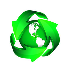 Recycle arrows and green earth vector