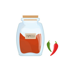 Red paprika powder stored in clear glass jar vector