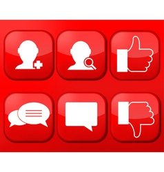 red social Network app icon set Eps10 vector image