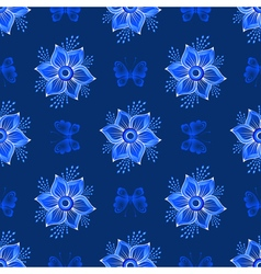 Repeating dark blue floral pattern vector