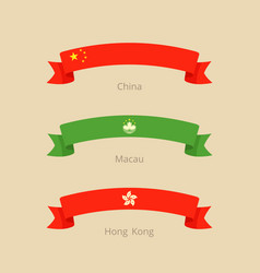 Ribbon with flag of china macau and hong kong in vector